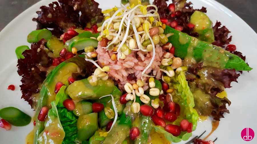Salat auf Teller anrichten, Cranberry-Reis oben auf und mit den Sprossen und Samen garnieren.