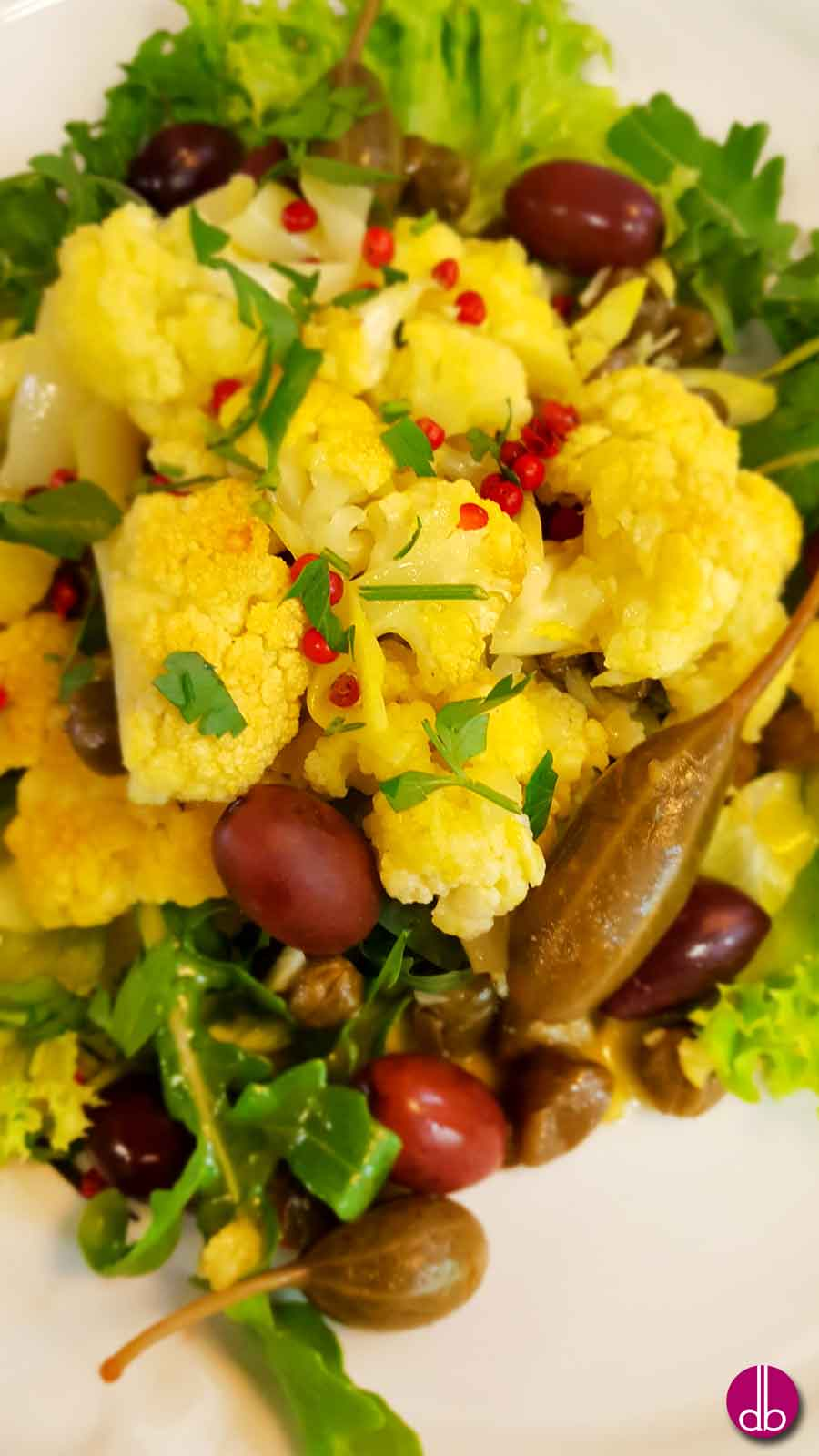 Rezept: veganer Blumenkohl-Salat aus Kalabrien