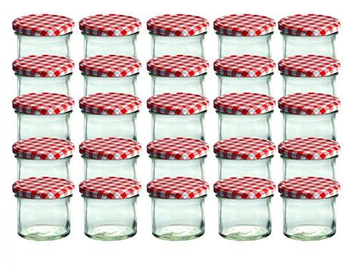 25er-Set-Sturzglas-125-ml-Marmeladenglas-Einmachglas-Einweckglas-To-66-rot-karrierter-Deckel-0
