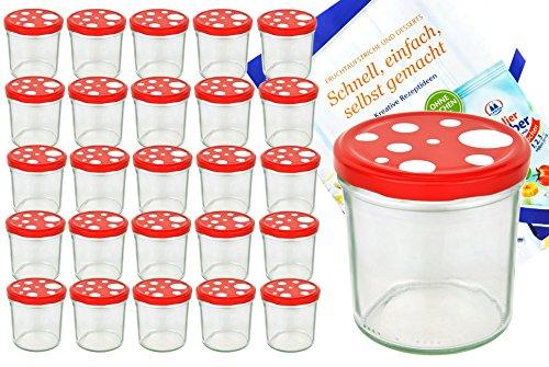 25er-Set-Sturzglas-350-ml-To-82-Fliegenpilz-Deckel-rot-wei-gepunktet-incl-Diamant-Gelierzauber-Rezeptheft-Marmeladenglas-Einmachglas-Einweckglas-0