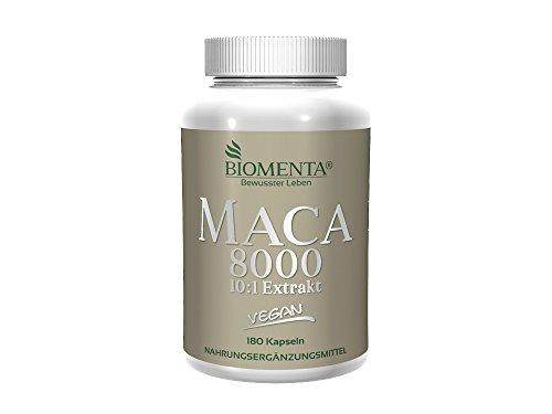 BIOMENTA-MACA-HOCHDOSIERT-8000-Pures-101-Maca-Extrakt-aus-Maca-Pulver-180-Maca-Kapseln-3-Monatskur-VEGAN-Fr-vitale-Frauen-Mnner-0