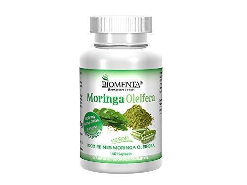 Biomenta-Moringa-Oleifera-hochdosierte-Kapseln-mit-Pulver-Extrakt-aus-Moringa-Blttern-400-mg-Blattpulver-je-Kapsel-mikropulverisiert-und-ohne-Zustze-aus-kontrolliertem-Anbau-vegane-Kapseln-0