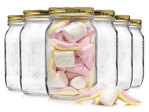 Bormioli-Einmachglas-Set-6-teilig-mit-goldenen-Deckeln-Fllmenge-1-Liter-Vorratsglser-in-Retro-Optik-zum-einlagern-von-Gewrzen-oder-Lebensmitteln-wie-zum-Beispiel-selbstgemachten-Marmeladen-0