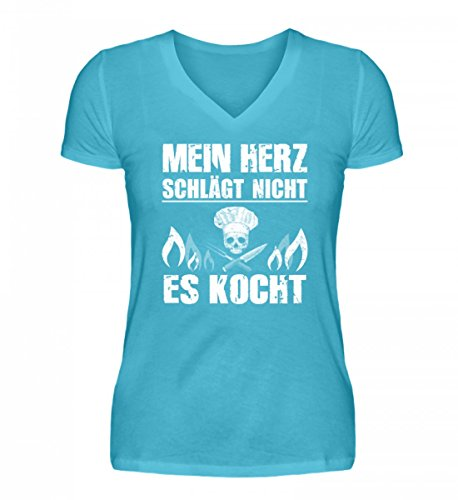 Hochwertiges-V-Neck-Damenshirt-Koch-Shirt-MEIN-HERZ-KOCHT-Gastronomie-Gastro-T-Shirt-Arbeitskleidung-Lustig-GESCHENK-IDEE-0
