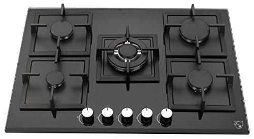 k h 5 zonen glas gaskochfeld 70cm wok brenner erdgas 5zgk khg deli gesund kochen. Black Bedroom Furniture Sets. Home Design Ideas