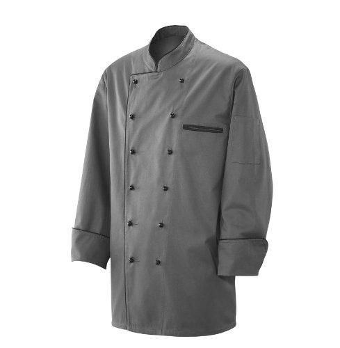 Kochjacke-Bckerjacke-Jacke-Langarm-Silbergrau-mit-schwarzem-Paspel-aus-35-Baumwolle-65-Polyester-220gr-0