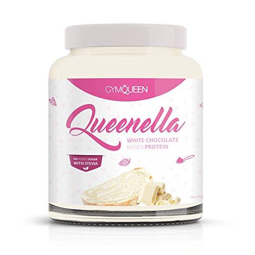 Leckere-Proteine-Creme-Schokocreme-Ersatz-ohne-Zucker-fr-ein-gesundes-Frhstck-Himmlisch-duftende-Haselnusscreme-Nougat-Creme-Alternative-mit-Stevia-Low-Carb-Gymqueen-Queenella-White-250g-0