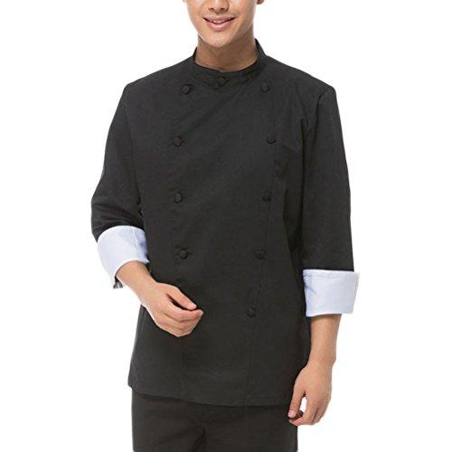 NanxsonTM-Herren-Baumwolle-Kochjacke-langarm-schwarz-Kochkleidung-Uniform-Berufsbekleidung-CFM0003-0