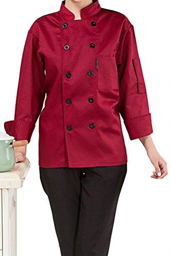 NanxsonTM-Unisex-Damen-Herren-Baumwolle-Kochjacke-langarm-Kochkleidung-Uniform-Berufsbekleidung-mit-Tasche-CFW1003-0