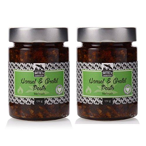 Gittes-Hnsel-Gretel-Brlauch-Pesto-im-2er-Set-Leckerer-Brlauch-unterstrichen-von-Knoblauch-und-verfeinert-mit-getr-Paprika-und-Tomate-handgemacht-ohne-knstliche-Zustze-0