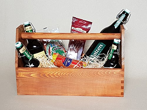 Prsentkorb-Geschenkkorb-Werkzeugkiste-Nagelkiste-Vollholz-braun-lasiert-mit-Holzwolle-gefllt-ohne-Deko-weiteren-Inhalt-0