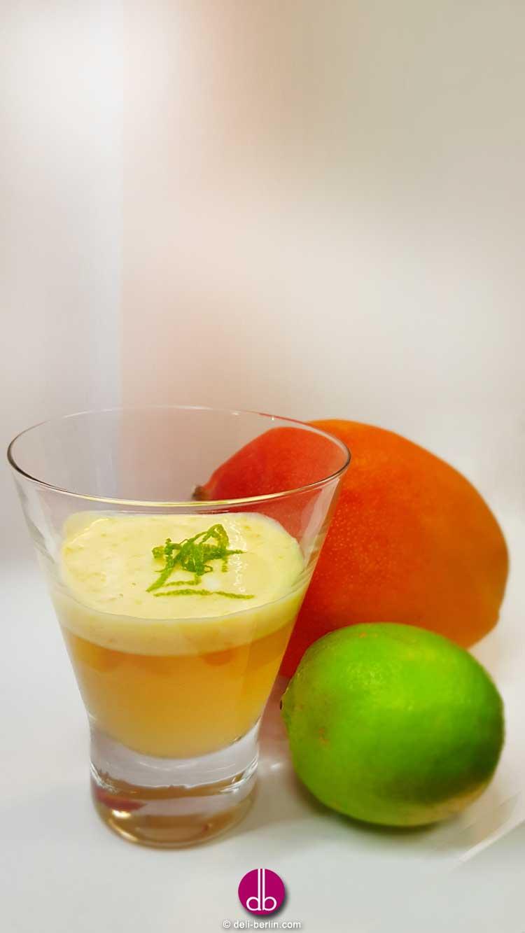 Prosecco-Gelee mit Mango & Limette