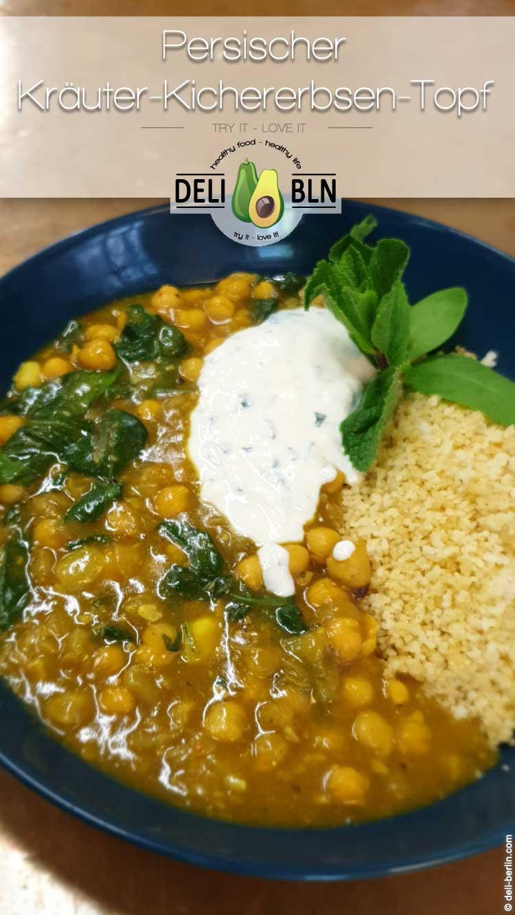 Persischer Kräuter- und Kichererbsen-Topf mit Couscous - vegan