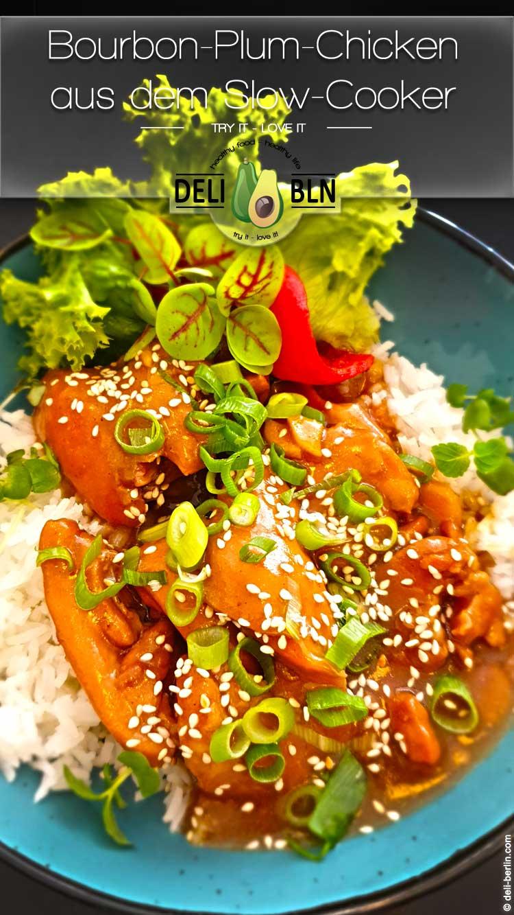 asiatisches Bourbon-Plum-Chicken aus dem Slow-Cooker