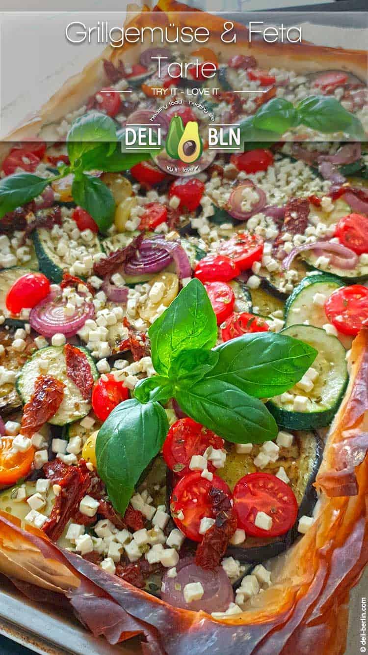 Rezept: vegetarische Grillgemüse-Tarte mit Fetakäse