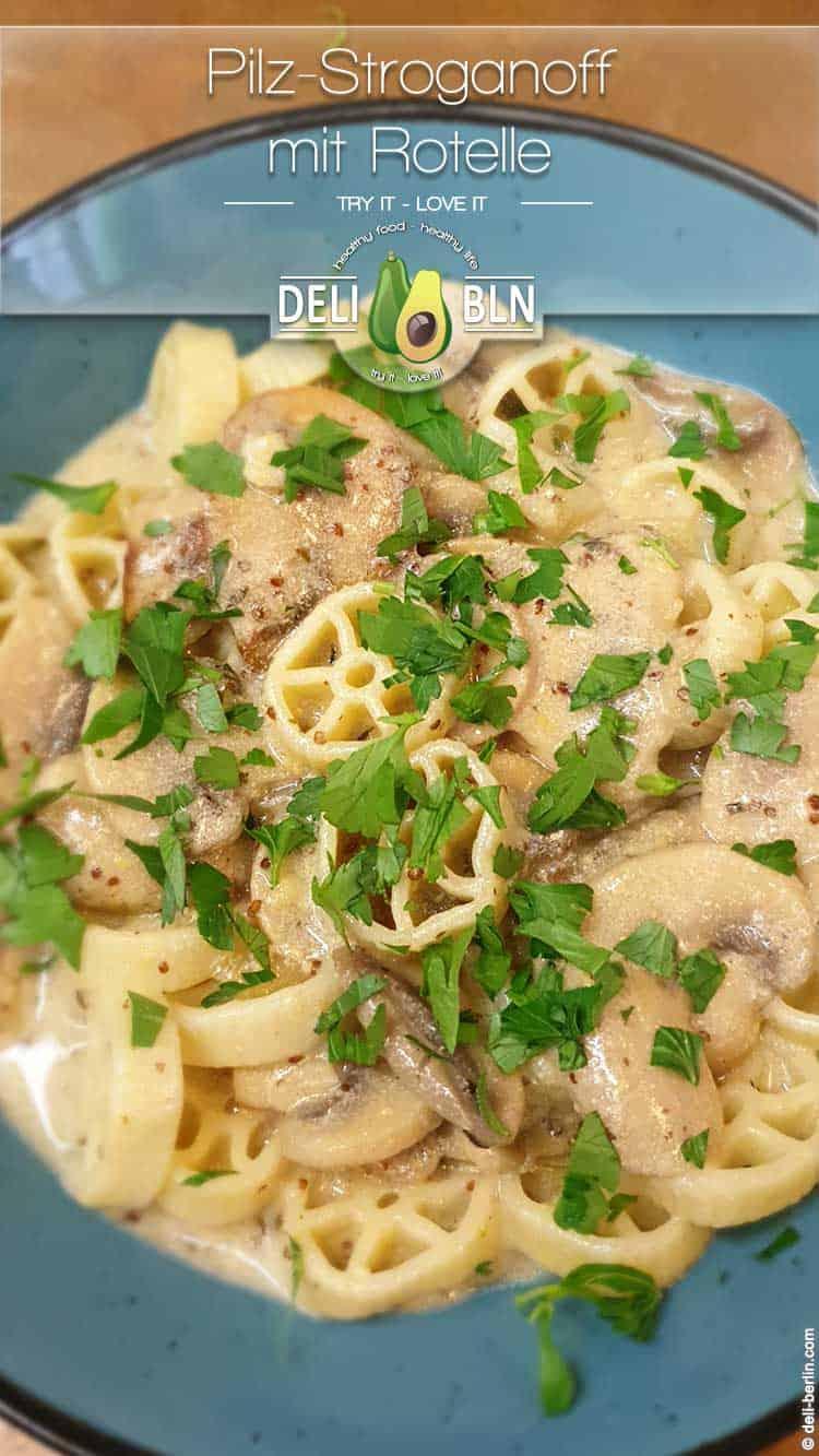Rezept: vegetarisch cremiger Pilz-Stroganoff mit Nudeln