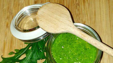 Rucola-Salbei-Pesto mit Cashew und chili