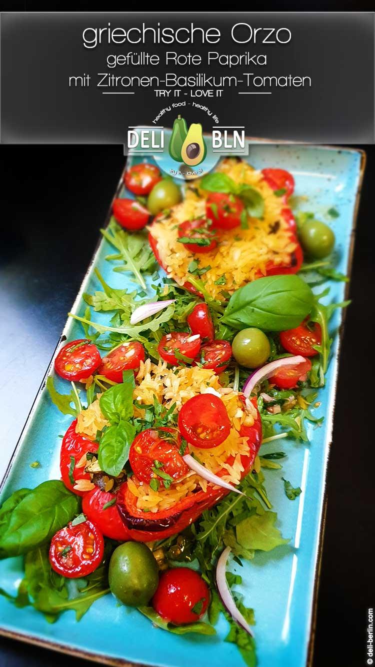 griechische Orzo gefüllte Rote Paprika mit Zitronen-Basilikum-Tomaten