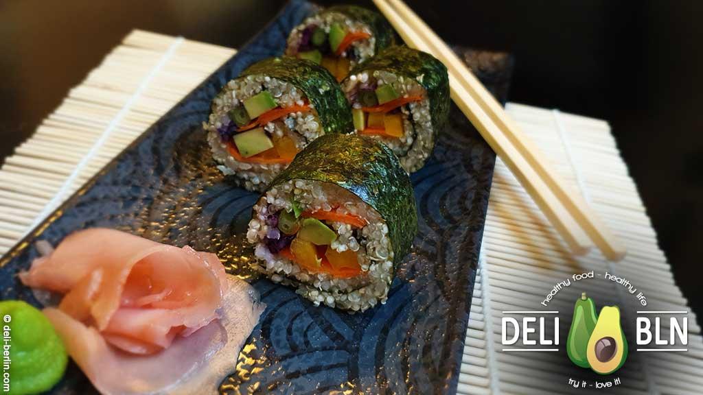 veganes Blumenkohlreis-Quinoa-Sushi leicht gesund & köstlich