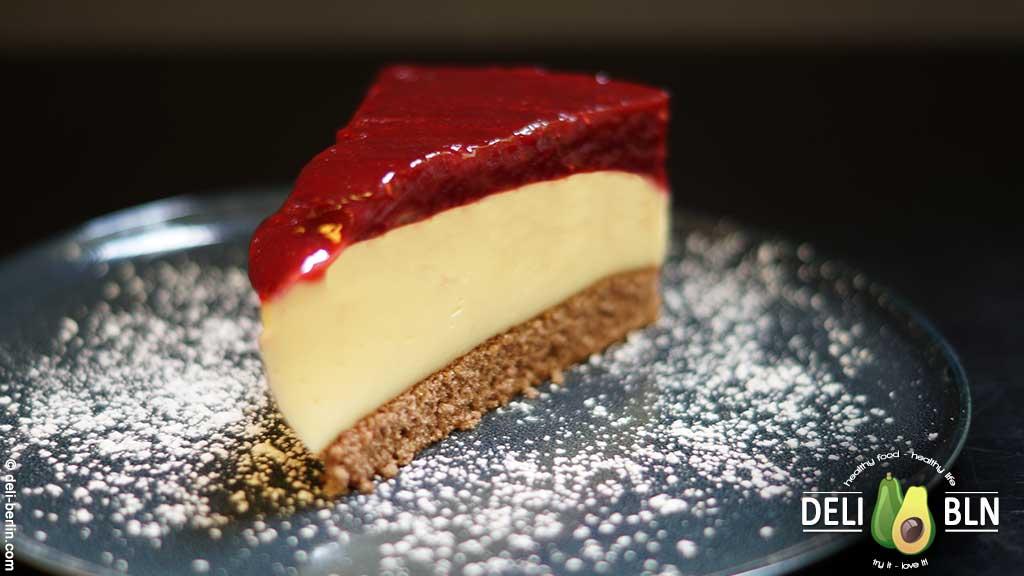 Himbeer-Pudding-Kuchen - Schoko Biskuitboden